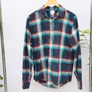 J. Crew Factory Tailored Fit Plaid Button Up Shirt